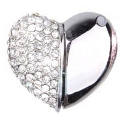 romantisches Kristall-Herz mit Strass-Steinen & Metall (verchromt) als 8GB USB Stick