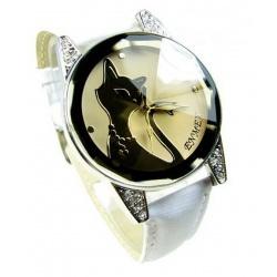Blacky Heart Cat Watch (Weis) - Schwarze Katze mit Herz Quarz Armbanduhr weiß
