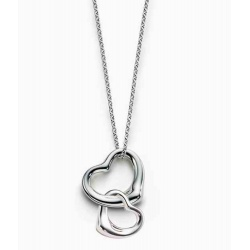 "elegant romantic necklace ""two connected hearts"" complete in sterling silver"
