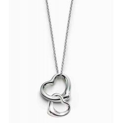 """elegante romantische Kette """"zwei verbundene Herzen"""" komplett aus Sterling Silber"""