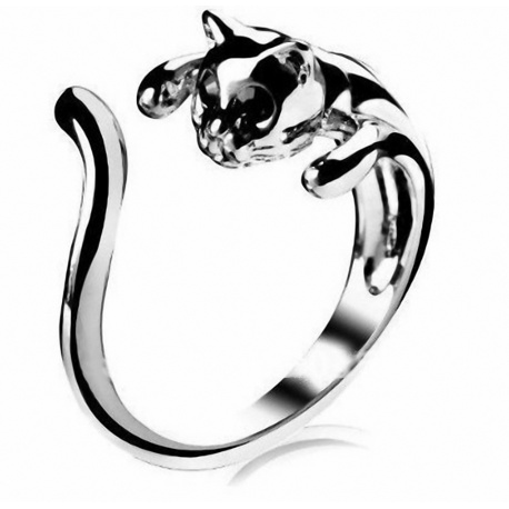 toller stylischer Katzen-Ring Cat - Chrome Finish - Gr??e 11,5 / 66 / ca. 21 mm