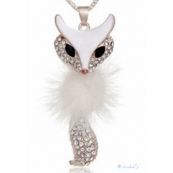 stylish puschel cat / Fox cats pendant with rhinestones in two colors