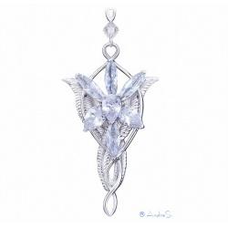 Arwens Abendstern Replik mit 7 diamantähnlichen Zirkon-Kristallen, Eckenschutz & 52cm Kette - hardplatiniert