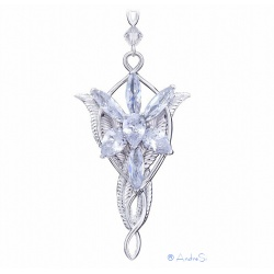 Arwens Evening Star Replica with 7 diamond-like zircon crystals, corner protection & 52cm chain - hardplatiniert
