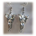 Arwens Evening Star Earrings - each with 3 multifaceted Swarowski crystals - hard silver plated