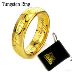The ring of power (in various sizes) - hard gold plated with fine laser engraving inside and outside - incl. 54cm stainless stee
