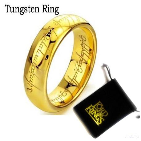 Der Ring der Macht (in verschiedenen Gr??en) - hartvergoldet mit feiner Lasergravur innen und au?en - inkl. 54cm Kette