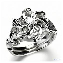 Nenya - Galadriels Ring des Wasser - hartversilbert mit 925er Sterling Silber mit facettemreichen Zirkon-Kristall