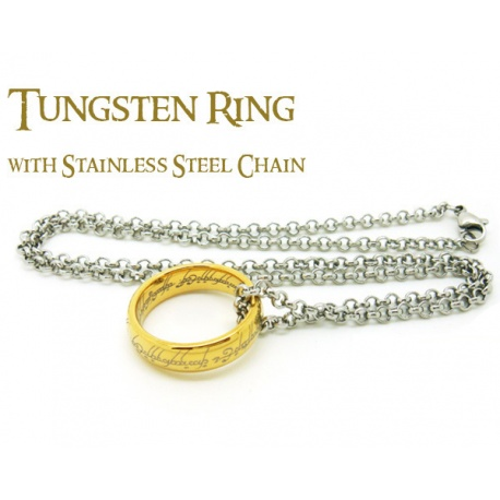 Der Ring der Macht 19mm - hartvergoldet mit feiner Lasergravur innen und au?en - inkl. 54cm Edelstahl-Kette
