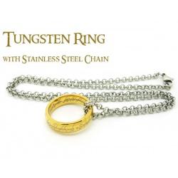 Der Ring der Macht 11,5 / 21,4mm - hartvergoldet mit feiner Lasergravur innen und außen - inkl. 54cm Edelstahl-Kette