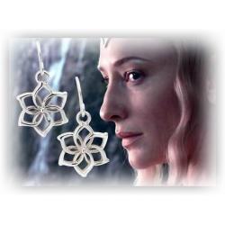 Galadriels Blüten-Ohrringe Set, versilbert