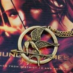 Die Tribute von Panem - Halskette Anhänger Spotttölpel 40mm beiseitig geprägt - 18k hartvergoldet (dunkel) - Hunger Spiele