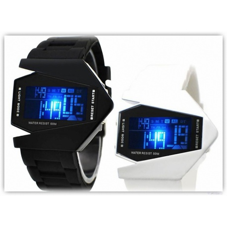 Futuristische LED-Fashion V Men - Quarz Armbanduhr - Farbauswahl-LED (ca. 3 Sek.) mit Datum, Wasser Resistent