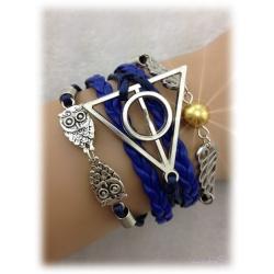 Armband - Heiligt?mer des Todes - mit Schnatz (Snitch) und Schleiereulen, versilbert, blau, gold - Deathly Hallows & Wings Owls