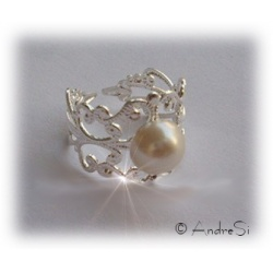 Peeta's Pearl Ring - The Hunger Games Inspired - Gothic Pattern Ring Silver - Hard Silver Plated - Approx. 19mm