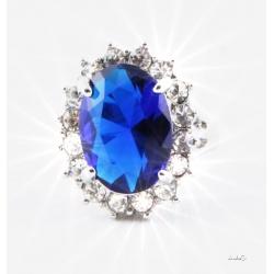 Verlobungsring Prinzessin Diana - Lady Di / Kate Middleton - hartversilbert mit faccetenreichen Kristallen