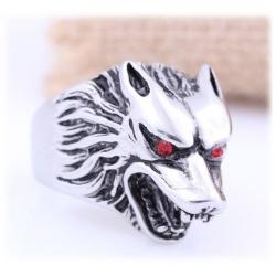 Wehrwolf Ring mit rot funkelnden Wolf Augen - aus Edelstahl mit Kristallen - Gothic, Punk, Rock Fashion