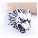 Wehrwolf Ring with Red Sparkling Wolf Eyes - Stainless Steel with Crystals - Gothic, Punk, Rock Fashion