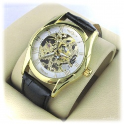 elegant classic sight glass gear watch WinnerPro Pilot Automatic - self-rearing - mineral glass and hard gold plating