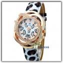 fashionable leopard design quartz wristwatch red gold - crystal glass and fur imitat bracelet with rhinestones