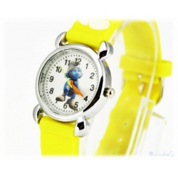 Kids Time Schlumpf Armbanduhr McTapfer / Gutsy Smurf mit Silikon Armband für Kinder Gelb