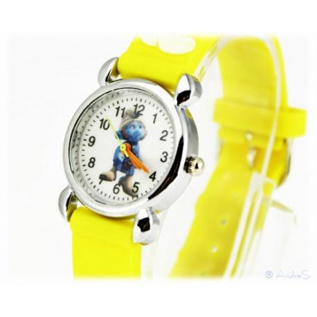 Kids Time Schlumpf McTapfer / Gutsy Smurf mit Silikon Armband f?r Kinder Gelb Armbanduhr