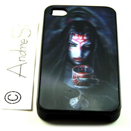 Vampir-Lady mit Trinkpokal voll Blut - 3D Motiv mehrstufig - iPhone 4 / 4S Schutzh?lle - Cover Case - Magic Gothic Fashion