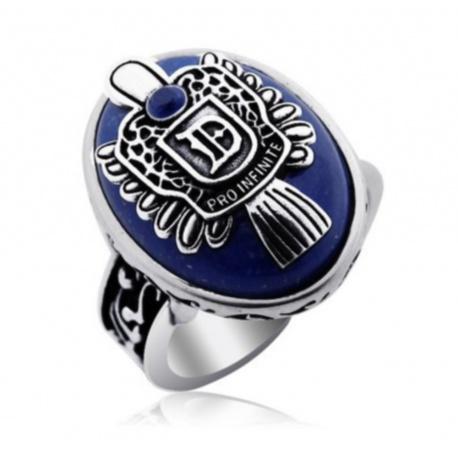 stilvoller Vampire Stefan oder Damon Daylight Ring, hochwertige versilberte Ausf?hrung mit Schmuckstein