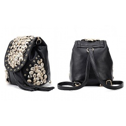 Gothic Fashion Women's Backpack Envelope Handbag - Shoulder bag with rhinestones (Black)