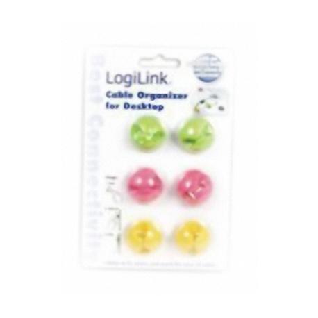 Kabelhalter bunt, 6 Stk. mit Klebestreifen (2x rosa, 2x gr?n, 2x gelb), LogiLink