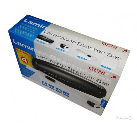 Genie 4-in-1 Starter-Set LA 402 DIN A4 Laminierger?t mit 50 Laminierfolien, Eckenrunder und Papier Schneidelineal, schwarz