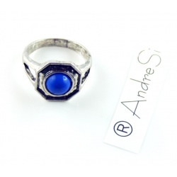 Vampire Klaus, Rebekah, Elijah Mikaelson Daylight Ring with Blue Coral, Antique Silver Plated
