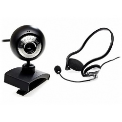 Skype Webcam 1,3MP & Nackenbügel Headset Box High-Quality-Stereo PB1300-Plus