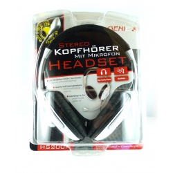 Headset HS-200M-High-Quality-Stereo für VoIP weis/silbern/schwarz Kopfhörer Mikrofon PC NEU Gaming Computer Skype MSN Genie