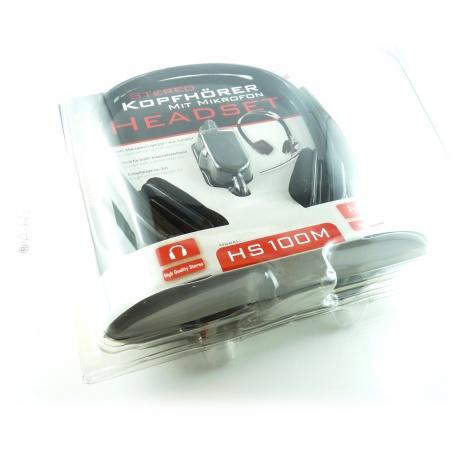 Headset HS-100M-High-Quality-Stereo f?r VoIP schwarz Kopfh?rer Mikrofon PC NEU Gaming Computer Skype MSN Genie