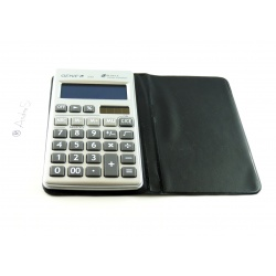 Genie 330, 10-digit, flat solar calculator, with dual power (incl. battery), including protective case, silver