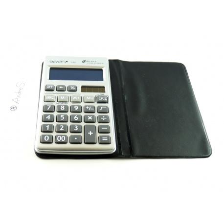 Genie 330, 10-stelliger, flacher Taschenrechner, mit Dual-Power (Solar und Batterie), inklusive Schutzetui, silber