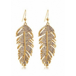 Gorgeous Romantic Crystal Feather Jewelry Earrings - 18 carat hard plated