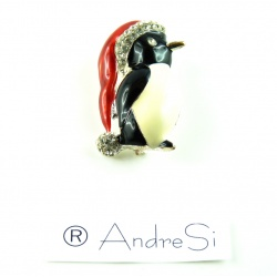 funny Christmas penguin pin, enamelled with fine crystals
