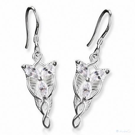 Arwens Abendstern Ohrringe aus 925er Sterling Silber mit je 3 einfassten facettenreichen Zirkon-Kristallen