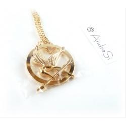 Die Tribute von Panem - Halskette Anh?nger Spottt?lpel 40mm beiseitig gepr?gt - 18k hartvergoldet (hell oder dunkel)