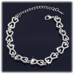 Caroline Kristall Schmuck-Armband von Klaus, hartversilbert mit feinen Strass-Steinen