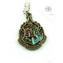 Hogwarts Anhänger Classic mit Hausfarben im Wappen von Gryffindor, Slytherin, Ravenclaw, Hufflepuff