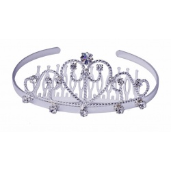 Diadem Prinzessin - Stirnreif Schneewitchen - Haarbrosche mit facettenreichen Swarovski-Kristallen, white gold platet