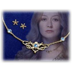 Eowyn's Ring mit feurig rotem Kristall, hart versilbert