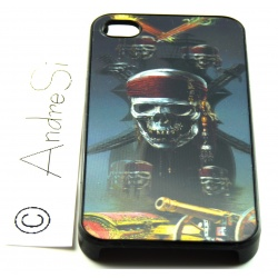 Skull Pirate with Swords, Cannon and Chest 3D - iPhone 4 / 4S Phone Protective Case - Cover Case