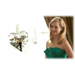 Caroline Forbes pendant open heart, hard silver plated polished