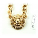 stylish lion pendant hard gold plated