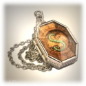 Salazar Slytherins Horkrux medallion - hard silver plated with transparent amber imitation - HP Fashion