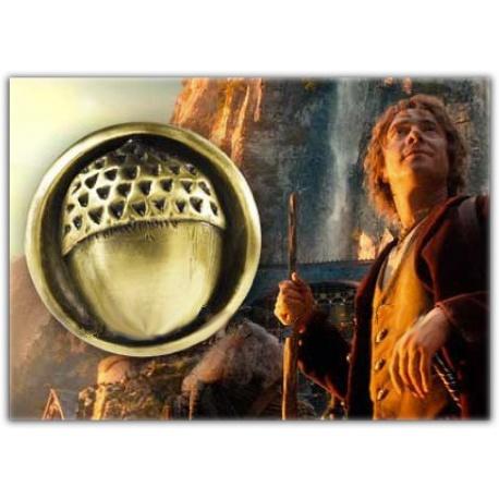 Bilbo Beutling`s Eichelknopf von mit langem Lederband 44cm - hartvergoldet